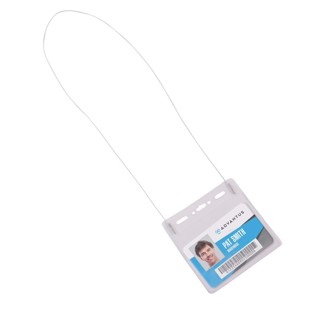 Advantus ID Badge Holder with Neck Cord, Horizontal, 4in. x 3in, 25/PK