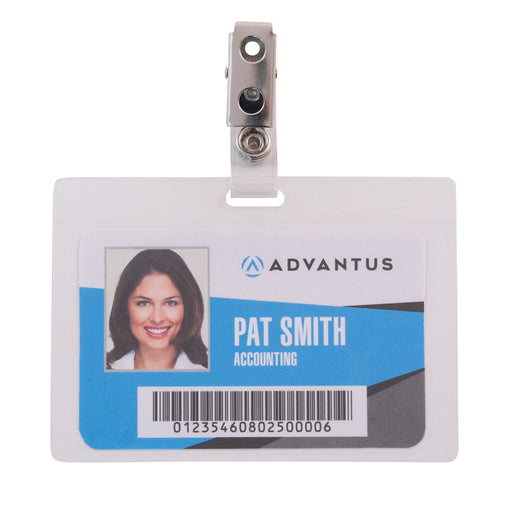 Advantus Self Laminating Badge Holder with Clip, Horizontal, 3½in. x 2¼in, 25/PK