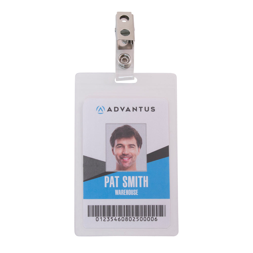 Advantus Self Laminating Badge Holder with Clip, Vertical, 2¼in. x 3½in, 25/PK