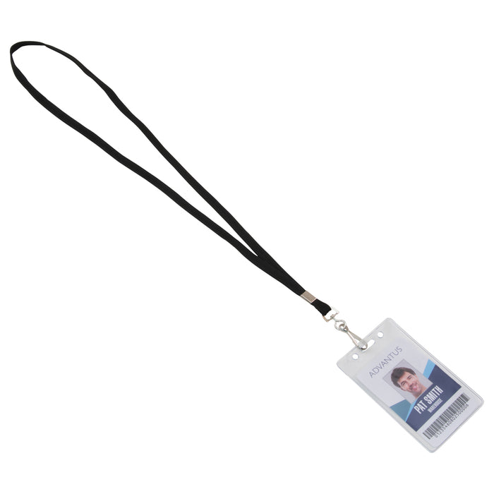 Advantus Deluxe Lanyard with J Hook, Black, 100/BX