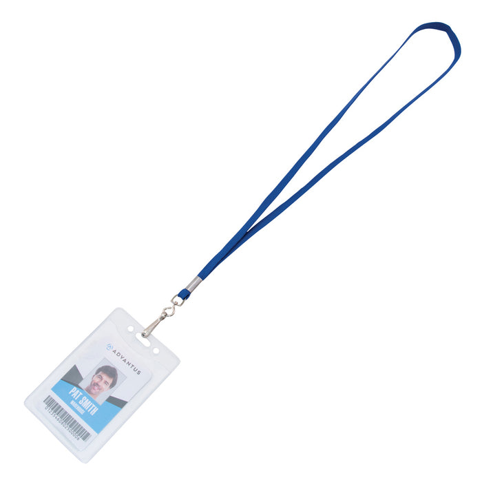 Advantus Deluxe Lanyard with J Hook, Blue, 100/BX