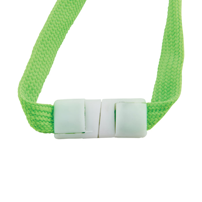 Lanyards, Neon Green, Breakaway Swivel J Hook, 12 per PK