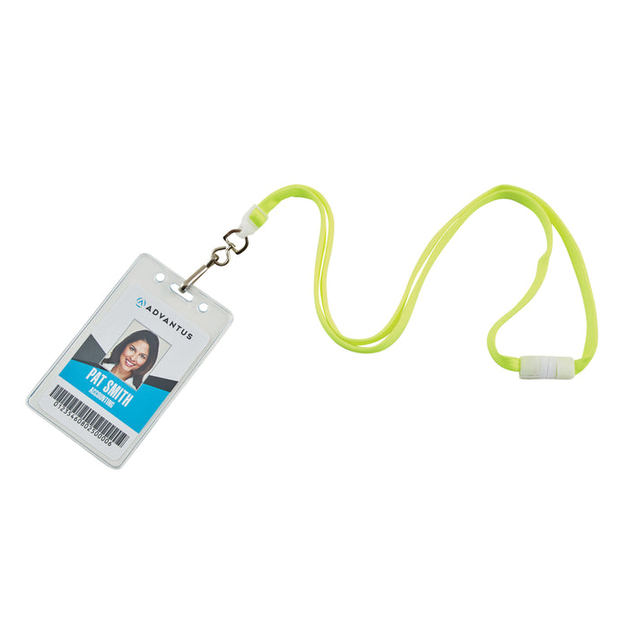 Lanyards, Neon Yellow, Breakaway Swivel J Hook, 12 per PK