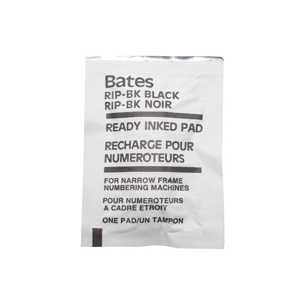 Bates Ready Inked Pad, For Standard and Dropped Cipher Numbering Machines, Black