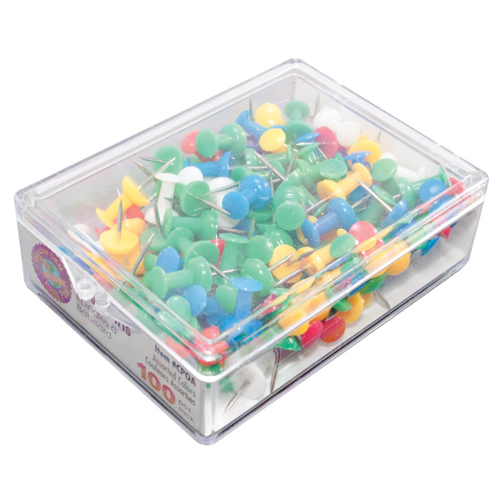 Gem Push Pins, Assorted, 100/BX