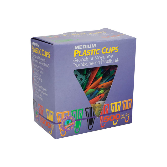 Advantus Medium Plastic Clips, 1in, Assorted, 500/BX