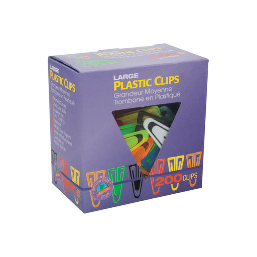 Advantus Large Plastic Clips, 1_in, Assorted, 200/BX