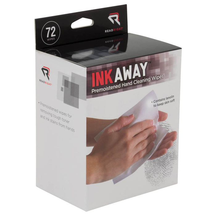 Read Right InkAway Hand Cleaning Wipes, 72 wipes/BX