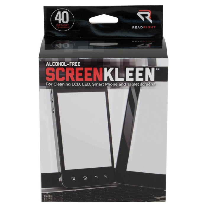 Read Right Alcohol Free ScreenKleen, 40 wipes/BX