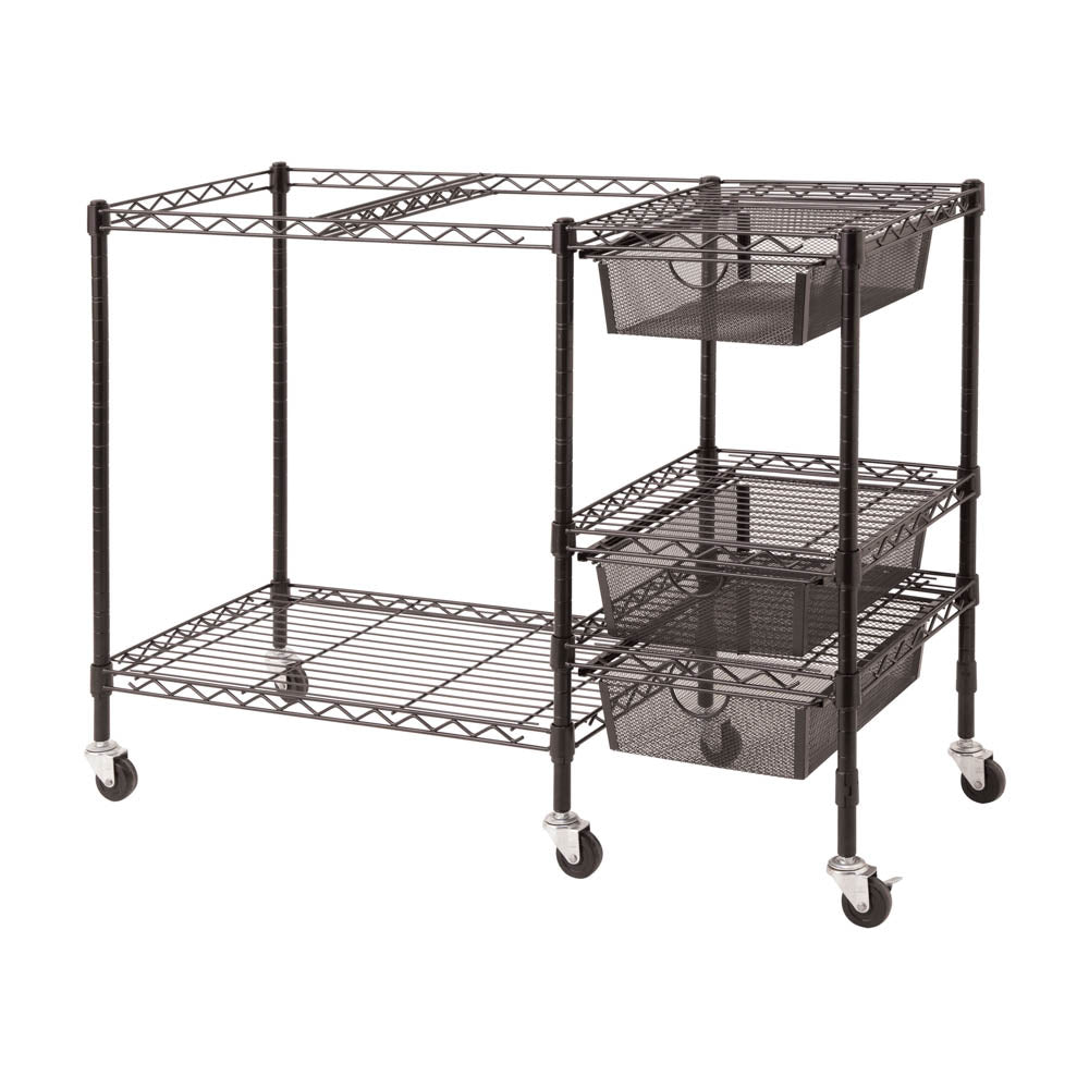 Vertiflex Mobile File Cart with 3 Drawers, Black