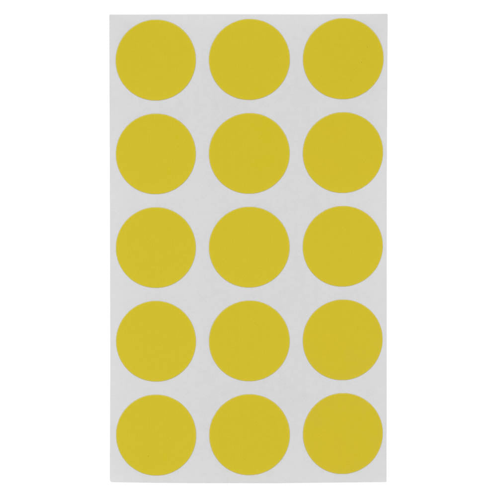 Z International Color Code Labels, Yellow, ¾ Dia, 375 Labels
