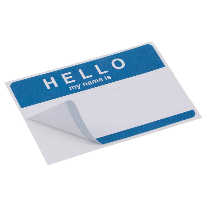 Z International Name Badges, Blue Hello, 25 Labels