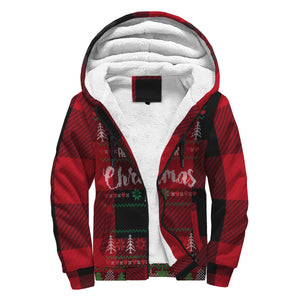 All I Want For Christmas (Red Flannel) Ugly Sweater Sherpa Hoodie - lavished-collection