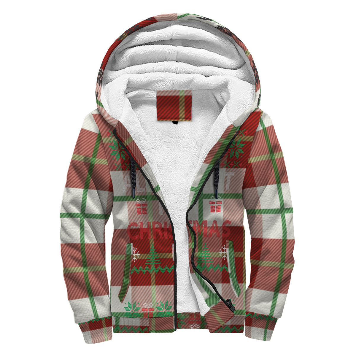 All I Want For Christmas (White & Red Flannel) Ugly Sweater Sherpa Hoodie - lavished-collection