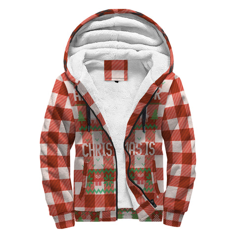 All I Want For Christmas (Red Checkered Flannel) Ugly Sweater Sherpa Hoodie - lavished-collection