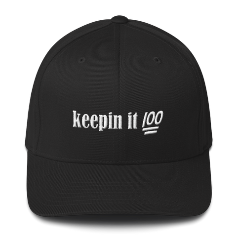 """Keepin it 100"" Structured Twill Cap Hats - Lavished Collection"