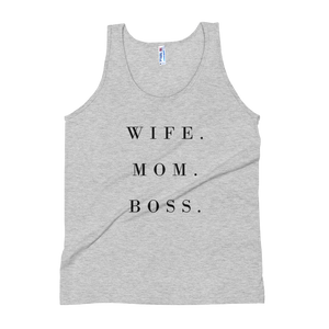 """Wife. Mom. Boss"" Women's Tank Top Apparel - Lavished Collection"