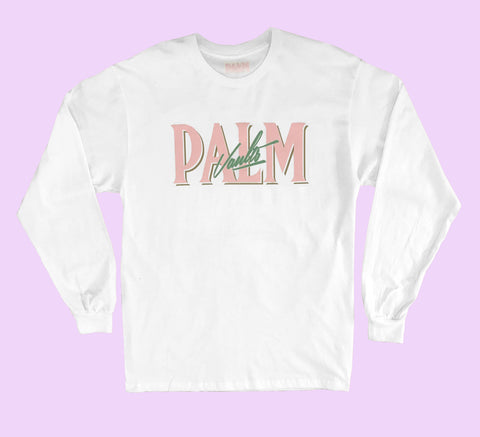 Palm Vaults Long Sleeve Tee White (Logo Front)