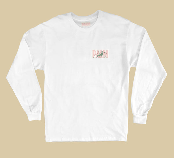 Palm Vaults Long Sleeve Tee White (Logo Front & Back)