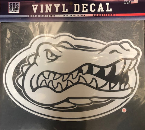 "3"" White Outlined Florida Gator Head Vinyl Decal"
