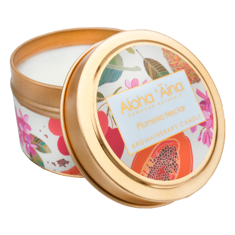 Maui Soap Co. - Plumeria Nectar - Hawaiian Aromatherapy Gold Tin Candle
