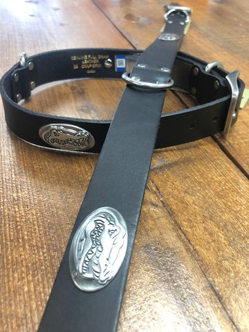 Leather Dog Collar with Concho