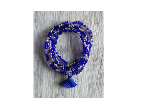 Royal Blue Layered Beaded Bracelet