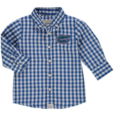 "Gator ""Infant"" Blue & White Gingham Dress Shirt"