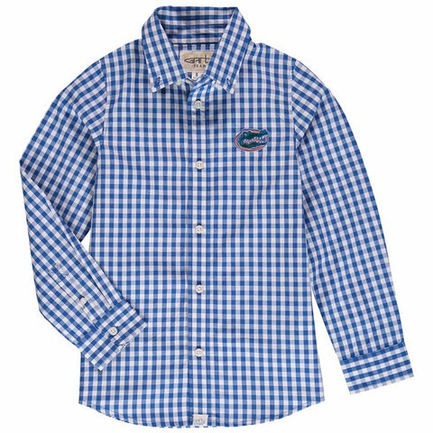 "Gators ""Boys/Youth"" Blue & White Gingham Dress Shirt"