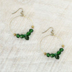 USF Green Crystal Hoop Earrings