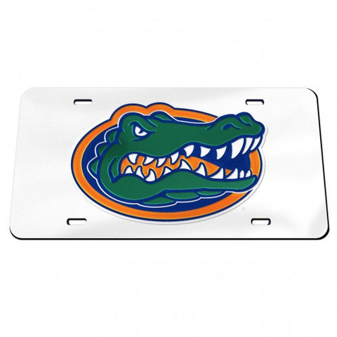 Crystal White Gator Head License Plate