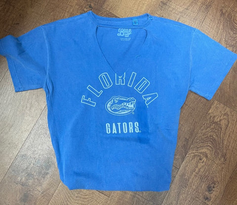 Florida Gators Distressed Blue V-Neck T'Shirt (sold AS IS - mark from sticker on front)