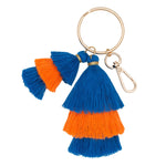 Blue and Orange Stacked Cotton Tassel Key Chain