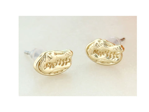 Florida Gators Head Stud Earrings in Gold