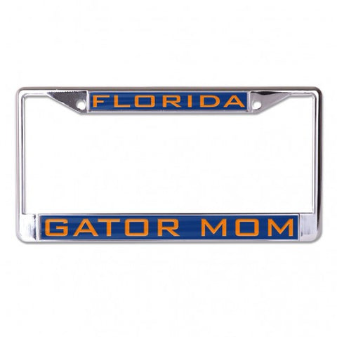 FLORIDA GATOR MOM BLUE BACKGROUND INLAID METAL LICENSE FRAME