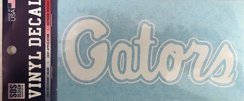 "Gators Script 6"" White Decal"