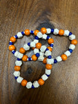 Natural, Orange, and Blue Wood Beaded Bracelet
