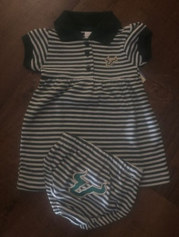 USF Bulls Infant Green & White Striped 2-Piece Set