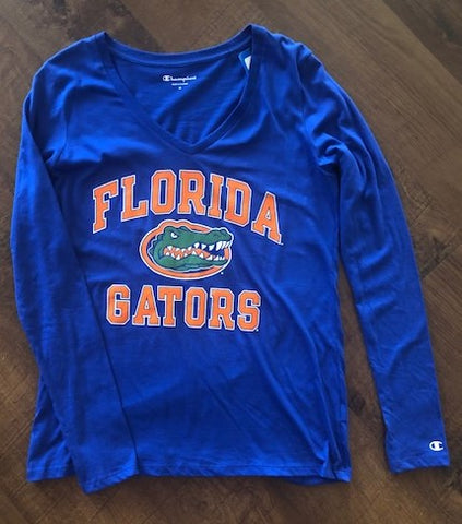 Florida Gators Women's Blue Long Sleeve V'Neck Tee