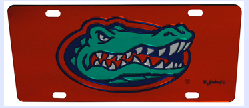 Florida Gators Orange Acrylic License Plate with Full Color Gator Head
