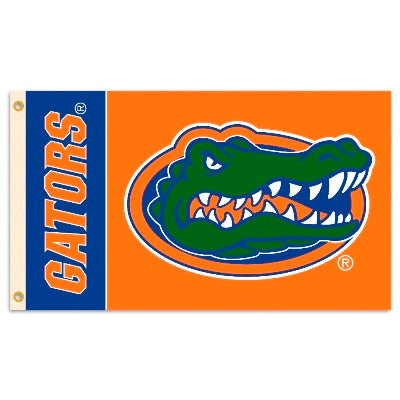 Florida Gators 3X5 Flag with GATORS and Gator Head Logo
