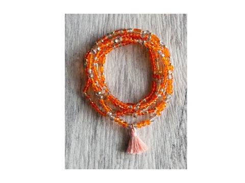 Orange Layered Beaded Bracelet