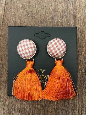 Orange Southern Prep Tassel Earrings