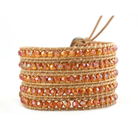 Radiant Orange on Natural Wrap Bracelet