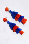 Orange & Blue Tassel Earrings