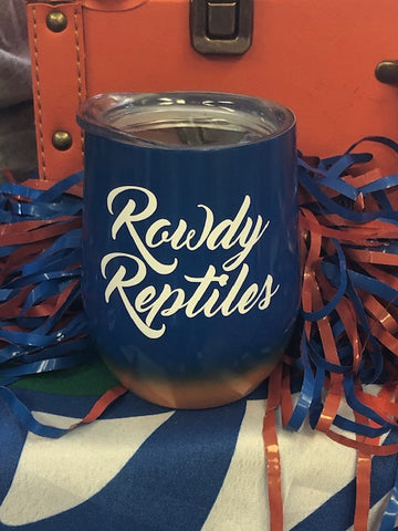 """Rowdy Reptile"" Orange & Blue Ombre Insulated Wine Tumbler"
