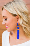 Royal Blue Beaded Drop Earrings