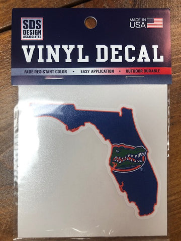 "Florida Gator Head in State of Florida 3"" Decal"