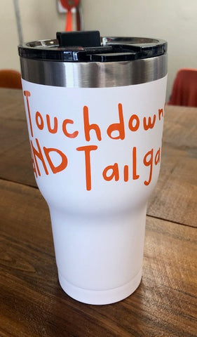 Bright White 20 0z. Travel Tumbler w/ Touchdowns & Tailgates