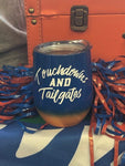 """Touchdowns and Tailgates"" Orange & Blue Ombre Insulated Wine Tumbler"